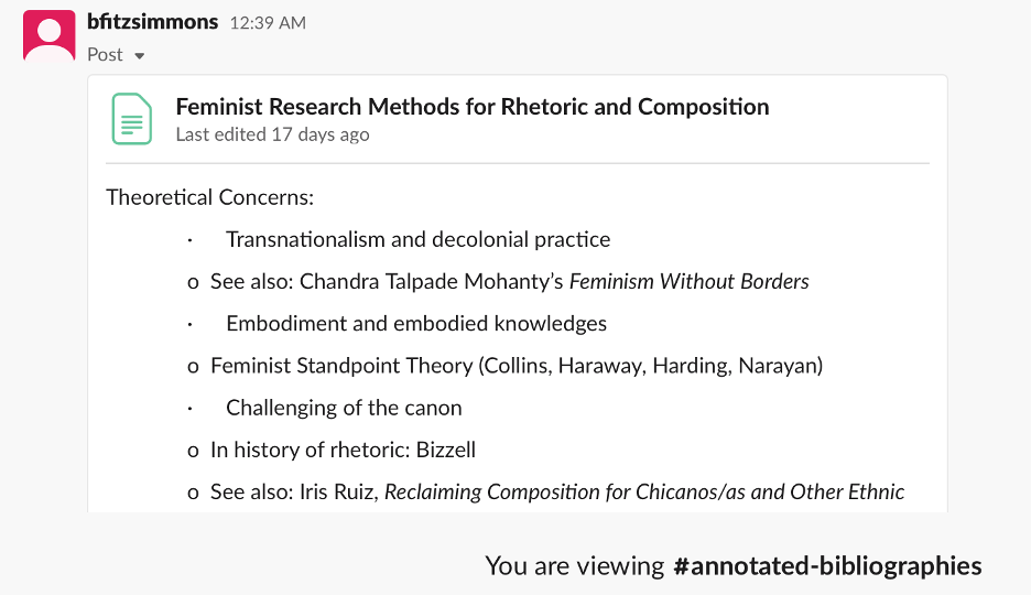 """A screenshot shows a collapsed text entry titled """"""""Feminist Research Methods for Rhetoric and Composition."""" Below the title, """"Theoretical Concerns"""" is listed, with a bulleted entry for """"Transnationalism and decolonial practice."""" Below are several, similar entries with concerns and accompanying texts."""