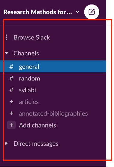 """This screenshot shows a list of channels, """"General,"""" Random,"""" Syllabi,"""" Articles,"""" and """"Annotated Bibliographies."""" A red square surrounds the list of channels to highlight their names."""