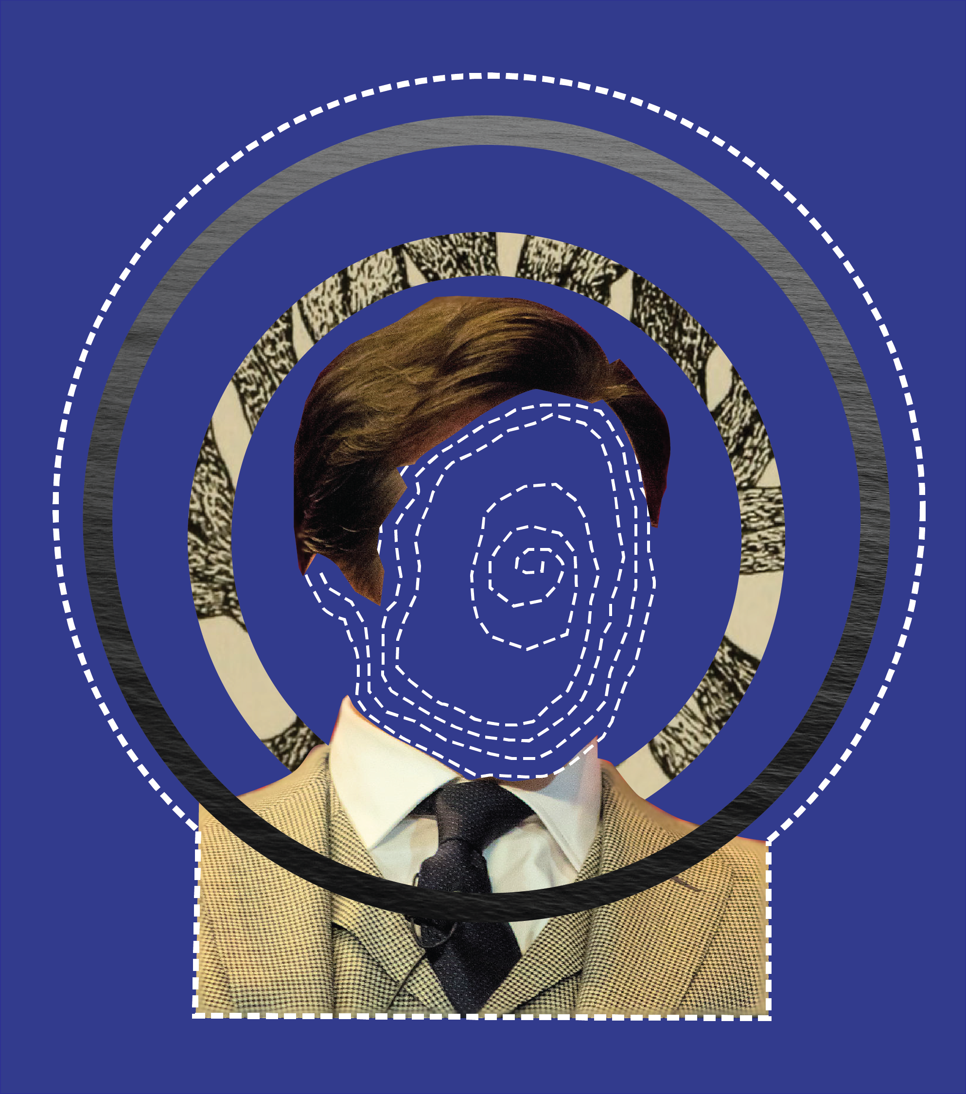 Mixed media collage piece of John Hamm's headshot. The space where the face is empty except for a dotted spiral. Surrounding the headshot are concentric collage rings.